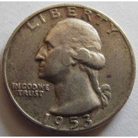 США 25 центов 1953 серебро