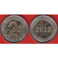 Зимбабве 2 доллара 2018 UNC НОВИНКА