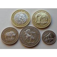 Конго. набор 5 монет  50, 100, 250, 500, 1000 франков 2020 год