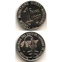 Западная Африка 1 франк 1997 г. KM#8 (Золотая гиря народа ашанти, служившая для взвешивания золотого песка.)