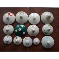 Крышки фарфоровые от посуды 30-60годов одним лотом