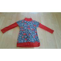 Платье красно-серое с длинным рукавом на девочку 2-3 года