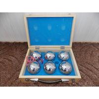 """Набор """"Боча"""" из 6 шаров в деревянном кейсе. Железные шары для игры в петанк."""