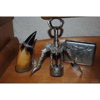 Подарочный набор для настоящего мужчины: многофункциональный штопор, сувенирный рог и портсигар!