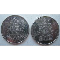 Канада 50 центов 2021 г. 100 лет Канадскому гербу. Комплект 2 монеты