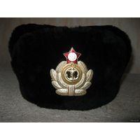 Шапка-ушанка меховая с кожаным верхом для офицеров ВМФ. Размер - 60!!!