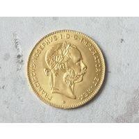 Австрия 4 флорина/10 франков 1892 рестрайк золото 900  3,22гр