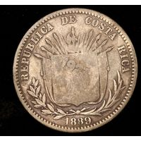 Коста Рика старая монета 50 сентимов 1923 г.- надчекан на 25 сентимов 1889 Heaton, нечастая!