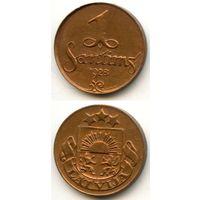 Латвия 1 сантим 1928 г. KM#1