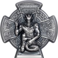 "RARE Остров Мэн 5 фунтов 2021г. ""Кернунн Рогатый Бог"". Монета в подарочном футляре; сертификат; коробка. СЕРЕБРО 93,30гр.(3 oz)."