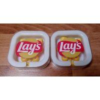 Наушники Lays Лейс Лэйс. Новые в упаковке. В наборе 3 комплекта сменных резиночек. Разъе
