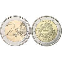 2 евро 2012 Мальта  10 лет наличному обращению евро UNC из ролла