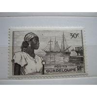 Транспорт, корабли, парусники, флот, Гваделупа, марка