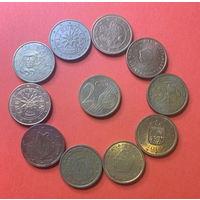 Евроценты, 2ц разных стран 10шт.