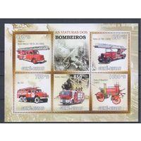 [1593] Гвинея-Биссау 2010. Пожарные машины. МАЛЫЙ ЛИСТ+ БЛОК.