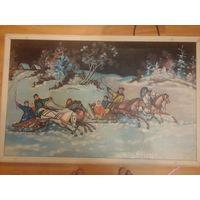 """Картина """"Гуляния зимой на тройках"""". Масло по холсту"""