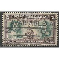Новая Зеландия. А.Я.Тасман на фоне карты. Мореход. 1940г. Mi#256.