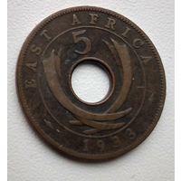 Британская Восточная Африка 5 центов, 1933  3-1-4