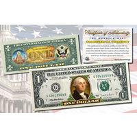 США бона $1 ЦВЕТНАЯ с двух сторон казначейство США. ПОДАРОЧНАЯ
