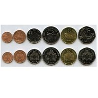 Гамбия набор 6 монет 1998-2014 UNC