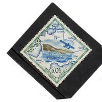 Монако. Ми-756.Монте-Карло, гидросамолет, карта ралли 1914 года. 50-летие. 1964.