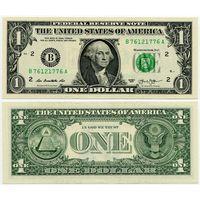 США. 1 доллар (образца 2013 года, B, Нью-Йорк, P537, UNC)