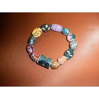 Винтажный браслет в стиле этно, ручная роспись, инкрустация металлом, Европа