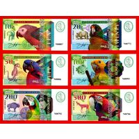Острова Нимрод набор из 6-ти банкнот 2018 год.  Попугаи, корабли и морские узлы. фентези.  распродажа