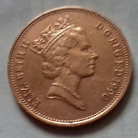 2 пенса, Великобритания 1990 г.