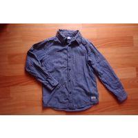 Рубашка детская темно-синяя в клеточку рост 128 см 100% хлопок