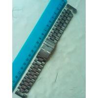 Браслет нержавеющий  22 мм с фиксатором и ушками