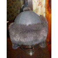 Женская шапочка: кожа и норка