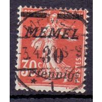 Мемель (Клайпеда) 2-й выпуск на марках Франции 30 пф/ 30 с 1922 г