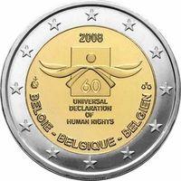 2 евро 2008 Бельгия 60 лет Декларации прав человека UNC из ролла