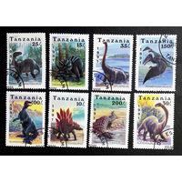 Танзания 1991 г. Динозавры. Доисторические животные. Фауна, полная серия из 8 марок #0269-Ф1P60