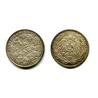 Германия 1/2  марки 1917 серебро состояние