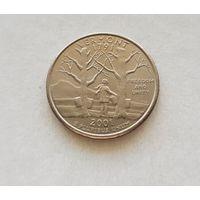 25 центов США 2000 г. штат Вермонт P