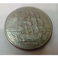 Новая Зеландия 50 цент 1980 большая