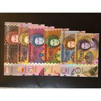 Сувенирная ( фантазийная ) банкнота Набор 6 шт 500, 100,50, 20,10,5 фунтов Полимер UNC