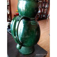 Большой кувшин обливная керамика зелёный цвет СССР.
