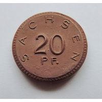Монета Саксония 20 пфеннигов Керамика 1921
