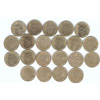 Франция 5 сантимов 1966-1998 без повторов по годам набор 21 монета