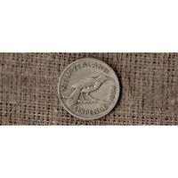 Новая Зеландия 6 пенсов 1934 /ФАУНА/птица/ГЕОРГ V/серебро//Н/
