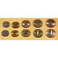 Ангола 2012-2014 компл. 5 монет UNC 50сент.,1,5,10,20 кванза