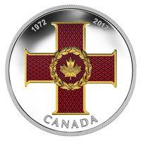 """Канада 20 долларов 2017г. """"Крест Доблести"""". Монета в капсуле; подарочном футляре; номерной сертификат; коробка. СЕРЕБРО 31,83гр.(1oz)."""