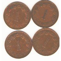 Мальта: 1 цент 1972, 1975, 1982, 1977 г.