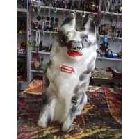 Большая старая копилка(31 см)-собака, гипс.