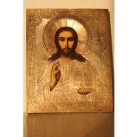 Икона Господь Вседержитель. 19 век. Золоченый оклад.