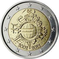 2 евро 2012 Бельгия 10 лет наличному обращению евро UNC из ролла