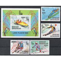 Олимпийские игры в Лэйк-ПлэсидеЦентральноафриканская Республика 1979 год серия из 4-х марок и 1 блока